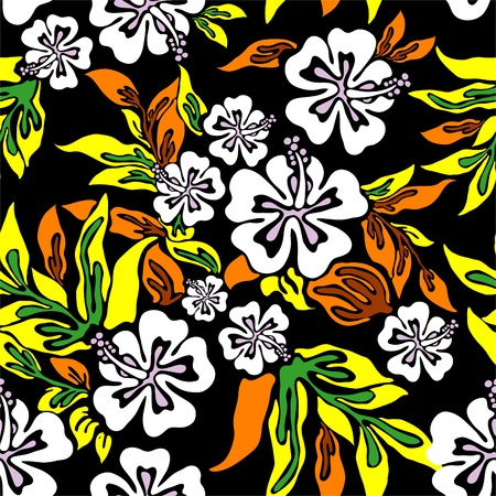 Vector hibiscus on black background Stock Vector - 12756364