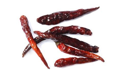 Dry chilli on the white background