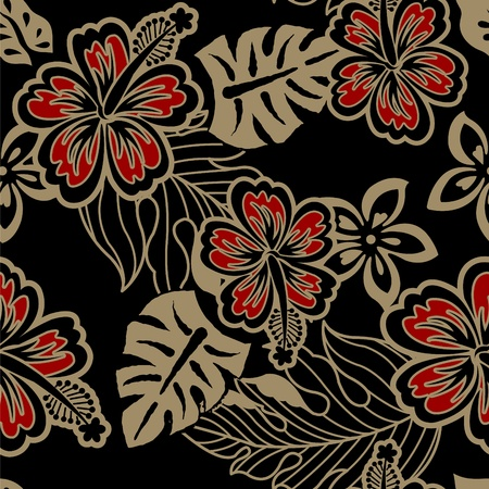 Hibiscus of vector design on black background Vector