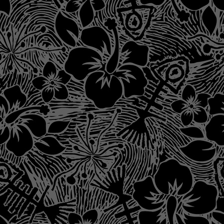 textile image: Fishbone and Hibiscus of vector design