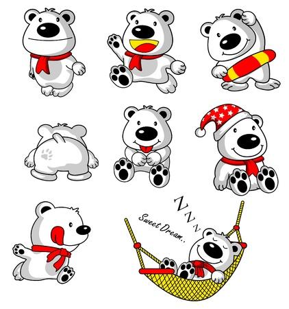 schattige dieren cartoon: Bear cartoon collectie Stock Illustratie