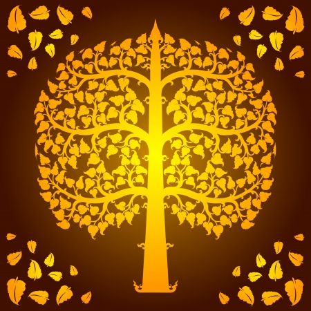 thai buddha: Design of bodhi tree vector