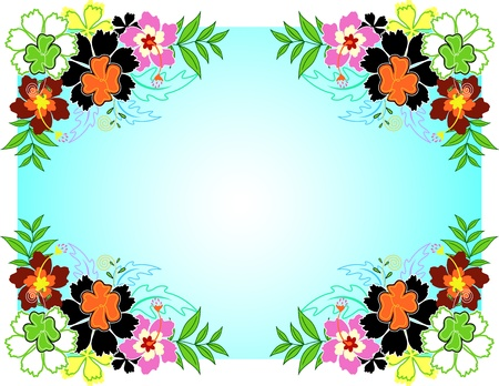 Frame of hibiscus on blue background, vector illustration Vector