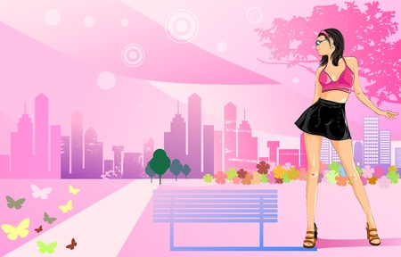 Lady in the city Stock Vector - 12756511