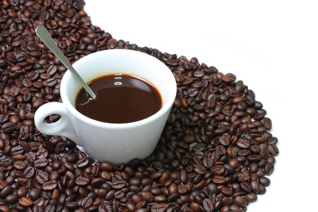 Coffee one cup on coffee bean background