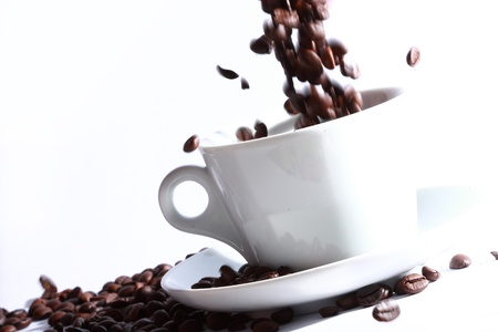 coffee bean to the cup Stock Photo