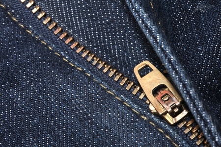 Close-up view of the rack of blue jeans