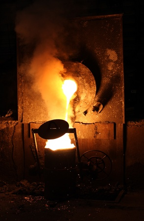 metallurgy: Liquid metal from casting ladle Ferrous metallurgy
