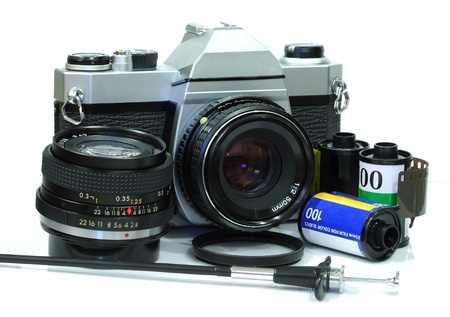 Classic camera with film Stock Photo