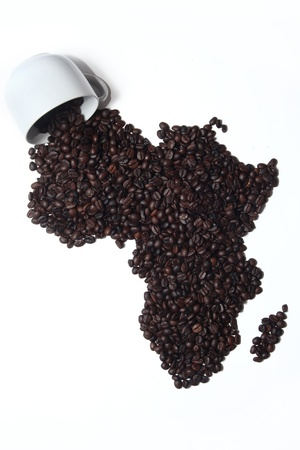 Map Africa and Cup on White Background
