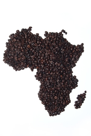 Coffee Map Africa on White Background