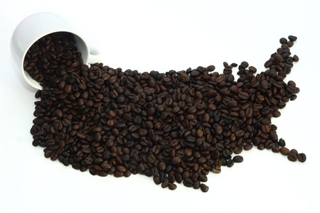Coffee Map America and Cup on White Background Stock Photo