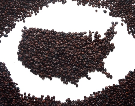 Coffee Map America on White Background