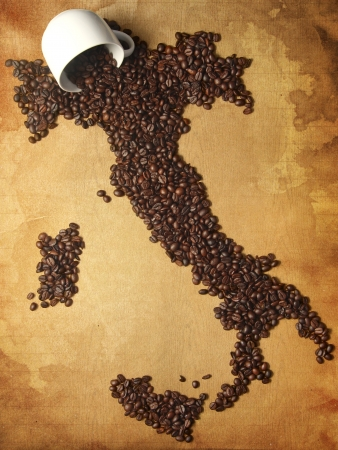 Coffee Map Italy and Cup
