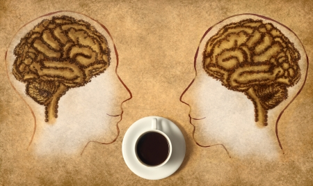 Coffee Brain made of beans and Cup