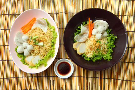 thai noodle soup: Noodles with fish ball and meat ball