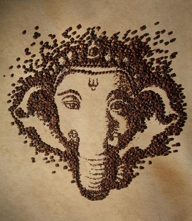 Ganesha made of Coffee beans.