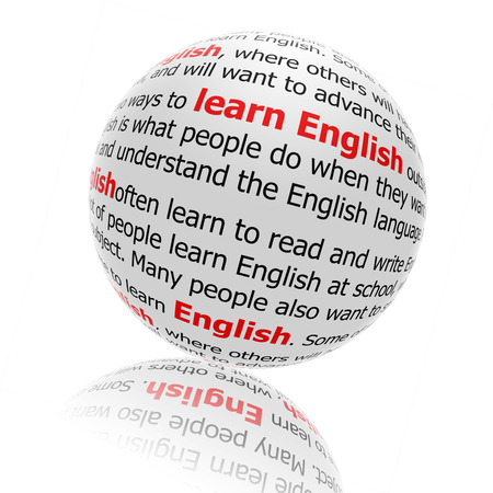 Learning English , wording ball with inscription learning