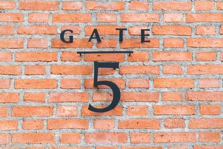 The door sign number 5. Stock Photo