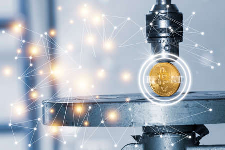 Golden bitcoin trapped and pressure.Concept of cryptocurrency bitcoin under pressure.