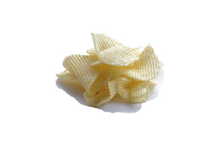Sliced Potato Chips Isolated On White Background.