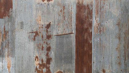 Rusty Corrugated Metal Zinc Wall, retro style decoration.