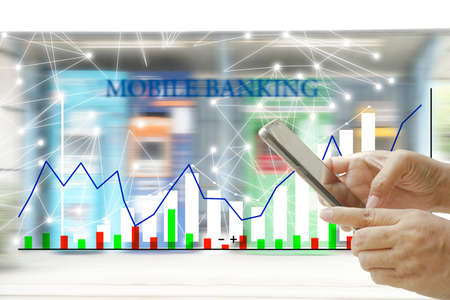 Mobile banking network, online payment, digital marketing.Financial control over the internet. Online worldwide. Stock Photo