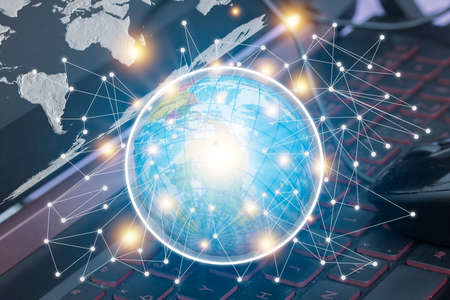 Global network concept,data exchanges over the world. Stock Photo