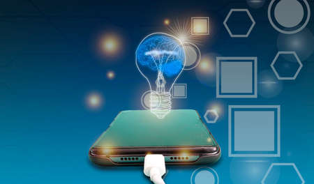 Smartphones, Knowledge Sources, Illumination, Brain. Online Learning Concept.
