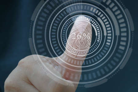 Fingerprint to identify personal,  Security system concept.Safety Internet Concept. Stock Photo