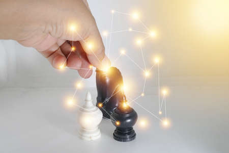 Luxurious powerful horse chess with a golden dust effect. Sparkle stardust.