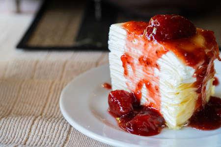 Pavlova dessert with Jam strawberry crepe cake.