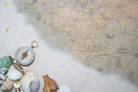 Ancient World Map background texture travel and journey