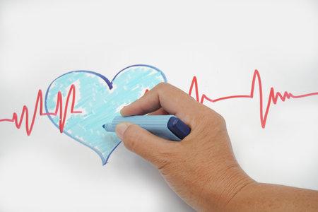 heartbeat line, heart cardio analysis medicine. Stock Photo