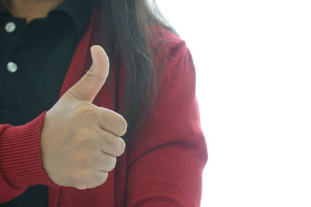 Thumbs up to show the first symbol