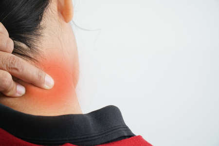 Having neck pain, Office Syndrome Stock Photo