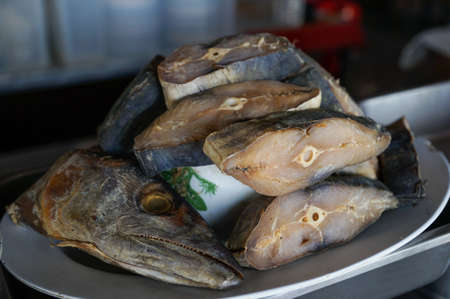 bluefish: The salted fish prepare for cooking at the resterant in Thailand