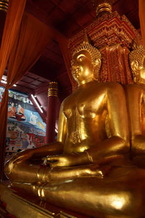 The thai chapel always have gold buddha stay Stock Photo - 18652466