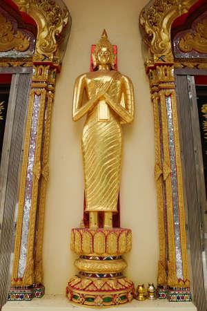The stand gold buddha at Wat Huay Mongkol in Thailand Stock Photo - 18652458