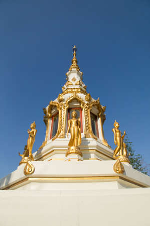 The gold buddha statue in front of the beautiful pagoda at the public temple in the northeastern of Thailand photo