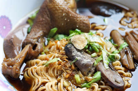 entrails: The stewed noodles with duck meat and entrails Stock Photo
