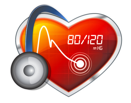 medical record: Blood Pressure Monitoring - Illustration - Stock Image