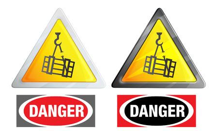 shop floor: Warning Sign - Suspended load - Illustration
