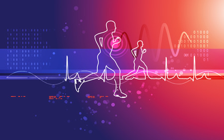 Abstract Illustration for Running Excercise and Heartbeat Waveform Background Illustration