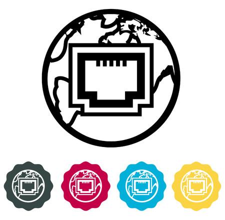 lan: LAN Internet Icon Illustration on white background