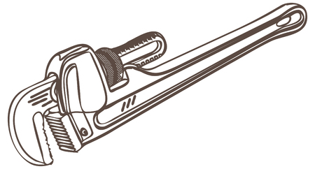 Adjustable Pipe Wrench Illustration