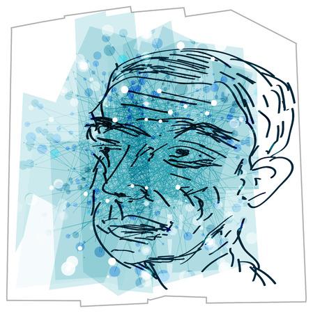 Abstract Elderly Person Sketch - Illustration as EPS 10 File Ilustração Vetorial