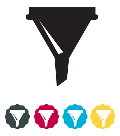 Funnel icon, vector illustration on white background.