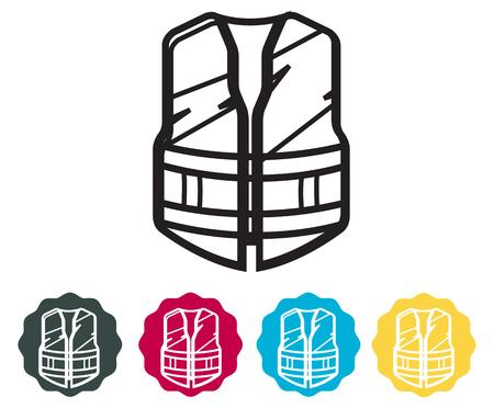 Safety vest - illustration icon set.