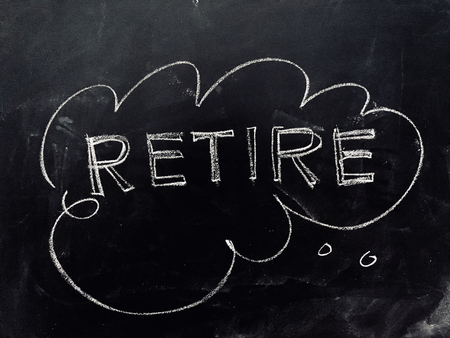 Thinking about Retirement Handwritten on Blackboard as JPG File Stock Photo